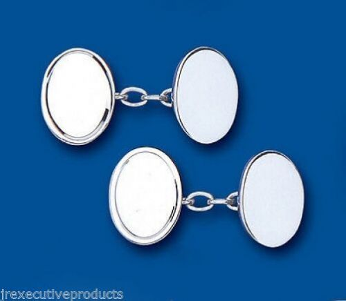 Oval Chained Cufflinks Solid Sterling Silver